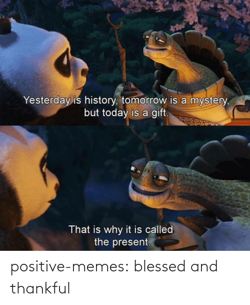 yesterday: Yesterday is history, tomorrow is a mystery,  but today is a gift.  That is why it is called  the present. positive-memes:  blessed and thankful