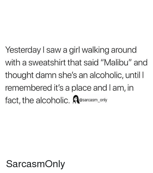 "Funny, Memes, and Saw: Yesterday l saw a girl walking around  with a sweatshirt that said ""Malibu"" and  thought damn she's an alcoholic, until I  remembered it's a place and lam, in  fact, the alcoholic. esarcasm only SarcasmOnly"