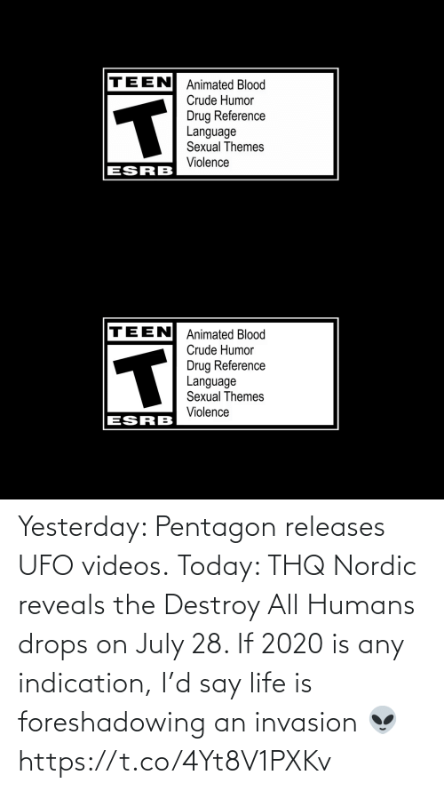 yesterday: Yesterday: Pentagon releases UFO videos.  Today: THQ Nordic reveals the Destroy All Humans drops on July 28.   If 2020 is any indication, I'd say life is foreshadowing an invasion 👽 https://t.co/4Yt8V1PXKv