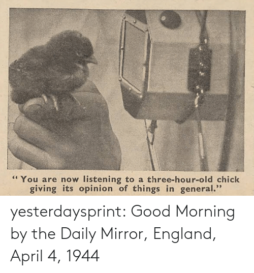 England: yesterdaysprint: Good Morning by the Daily Mirror, England, April 4, 1944
