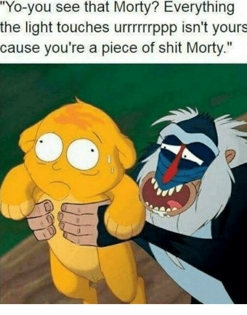 """Shit, Yo, and Piece of Shit: """"Yo-you see that Morty? Everything  the light touches urrrrrrppp isn't yours  cause you're a piece of shit Morty."""""""