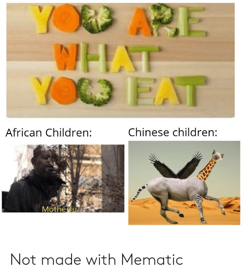 ape: YOD APE  WHAT  YO EAT  Chinese children:  African Children:  Motherfu Not made with Mematic