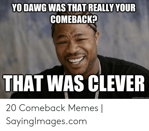 Memes, Com, and Clever: YODAWG WAS THAT REALLY YOUR  COMEBACK?  THAT WAS CLEVER  quickmeme.com 20 Comeback Memes | SayingImages.com