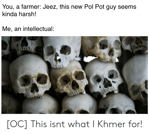 Harsh, Pol Pot, and Pot: You, a farmer: Jeez, this new Pol Pot guy seems  kinda harsh!  Me, an intellectual: [OC] This isnt what I Khmer for!