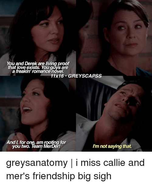 Love, Memes, and Grey: You and Derek are living proof  that love exists. You are  a freakin' romancenovel.  11x16 GREY SCAPSS  And for one, am rooting for  you two. Team MerDer!  I'm not saying that. greysanatomy | i miss callie and mer's friendship big sigh