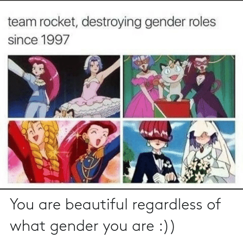 regardless: You are beautiful regardless of what gender you are :))
