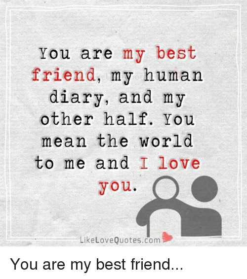 Memes, 🤖, and Love Quotes: You are my best  friend, my human  diary, and my  other half. You  mean the world  to me and I love  you.  Like Love Quotes.com You are my best friend...
