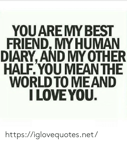 My Human: YOU ARE MY BEST  FRIEND, MY HUMAN  DIARY, AND MY OTHER  HALF.YOU MEAN THE  WORLD TO MEAND  I LOVE YOU. https://iglovequotes.net/
