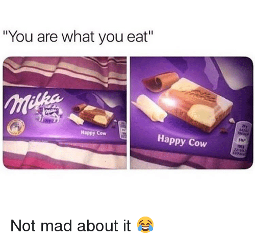 """Memes, Happy, and Mad: """"You are what you eat""""  Happy  Happy Cow Not mad about it 😂"""