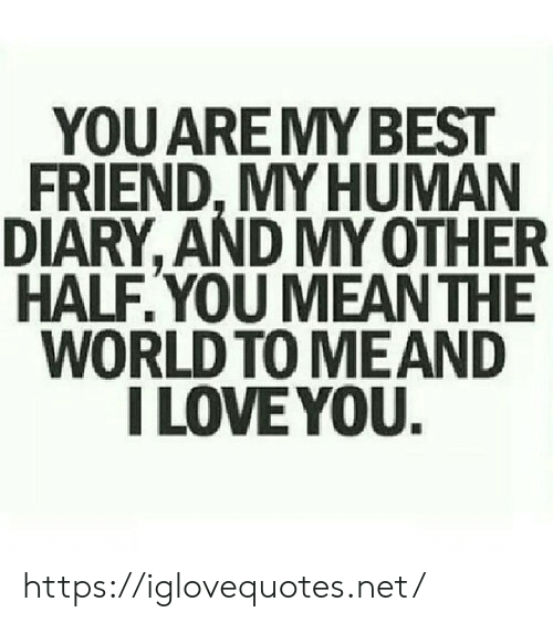 My Other Half: YOU AREMY BEST  FRIEND, MY HUMAN  DIARY, AND MY OTHER  HALF.YOU MEAN THE  WORLD TO MEAND  I LOVE YOU. https://iglovequotes.net/
