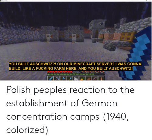 Fucking, Minecraft, and Auschwitz: YOU BUILT AUSCHWITZ?! ON OUR MINECRAFT SERVER? I WAS GONNA  BUILD, LIKE A FUCKING FARM HERE, AND YOU BUILT AUSCHWITZ! Polish peoples reaction to the establishment of German concentration camps (1940, colorized)