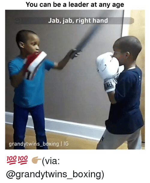 Boxing, Funny, and Can: You can be a leader at any age  Jab, jab, right hand  grandytwins_boxing IC 💯💯 👉🏽(via: @grandytwins_boxing)