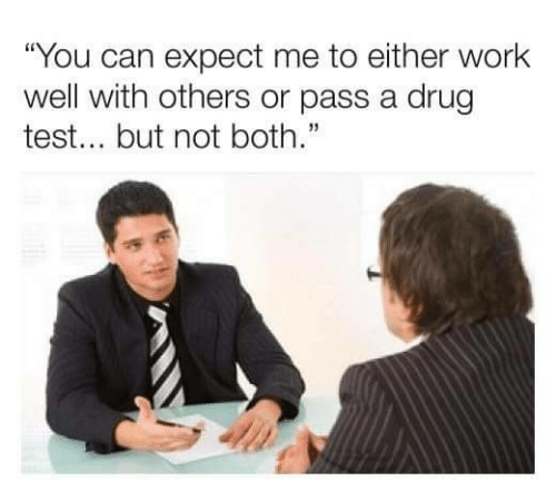 """Work, Test, and Drug Test: """"You can expect me to either work  well with others or pass a drug  test... but not both."""""""