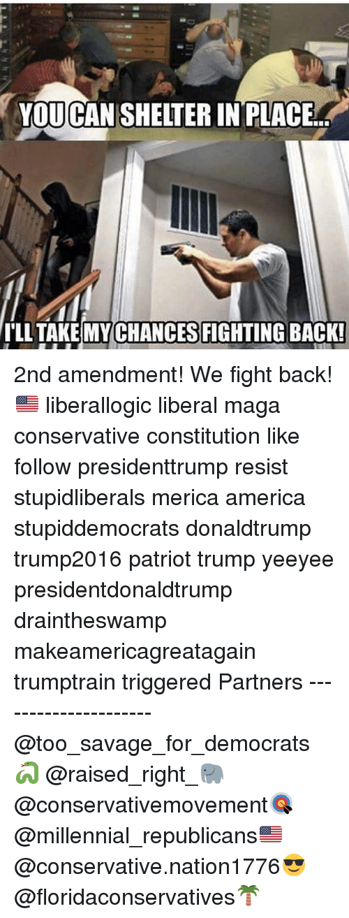 America, Memes, and Savage: YOU CANSHELTER IN PLACE  ILL TAKE CHANCES FIGHTING BACK! 2nd amendment! We fight back!🇺🇸 liberallogic liberal maga conservative constitution like follow presidenttrump resist stupidliberals merica america stupiddemocrats donaldtrump trump2016 patriot trump yeeyee presidentdonaldtrump draintheswamp makeamericagreatagain trumptrain triggered Partners --------------------- @too_savage_for_democrats🐍 @raised_right_🐘 @conservativemovement🎯 @millennial_republicans🇺🇸 @conservative.nation1776😎 @floridaconservatives🌴