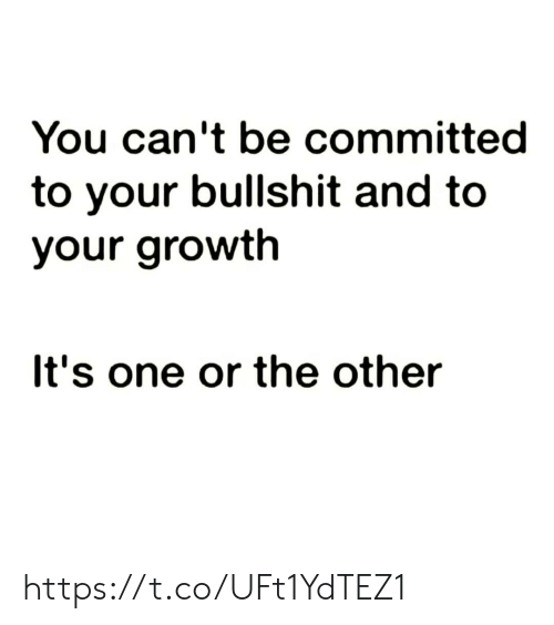 Committed: You can't be committed  to your bullshit and to  your growth  It's one or the other https://t.co/UFt1YdTEZ1