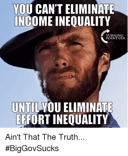 Memes, Truth, and 🤖: YOU CAN'T ELIMINATE  NCOME INEQUALITY  TURNING  POINT USA  UNTIL YOU ELIMINATE  ERFORT INEQUALITY Ain't That The Truth... #BigGovSucks