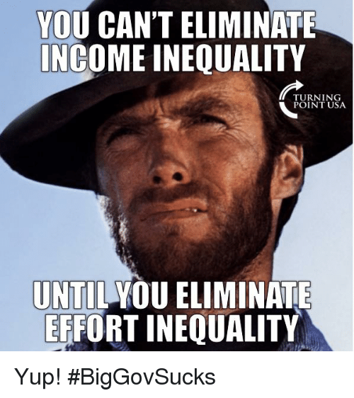 Memes, 🤖, and Usa: YOU CAN'T ELIMINATE  NCOME INEQUALITY  TURNING  POINT USA  UNTIL YOU ELIMINATE  ERFORT INEQUALITY Yup! #BigGovSucks