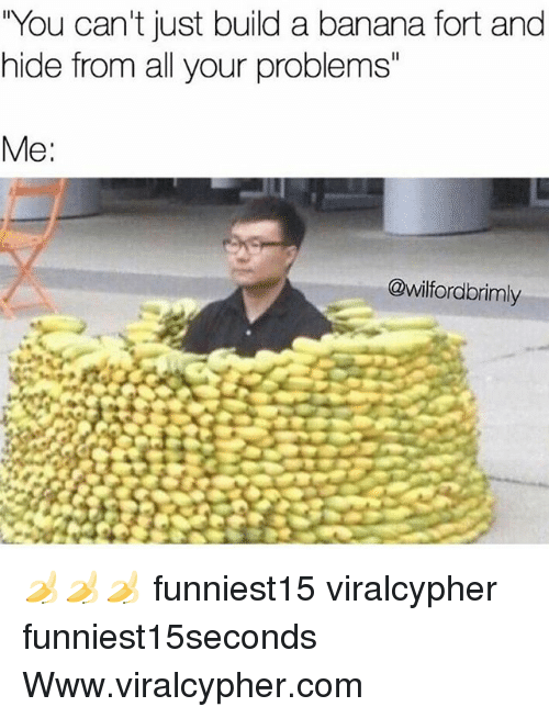 "Funny, Banana, and Com: You can't just build a banana fort and  hide from all your problems""  Me:  @wilfordbrimly 🍌🍌🍌 funniest15 viralcypher funniest15seconds Www.viralcypher.com"