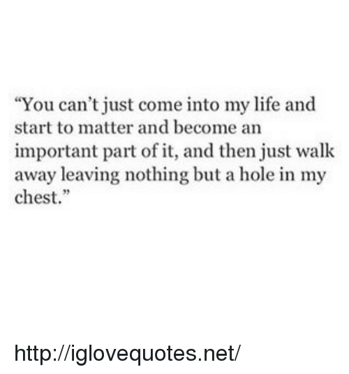 "Come Into My Life: ""You can't just come into my life and  start to matter and become an  important part of it, and then just walk  away leaving nothing but a hole in my  chest. http://iglovequotes.net/"