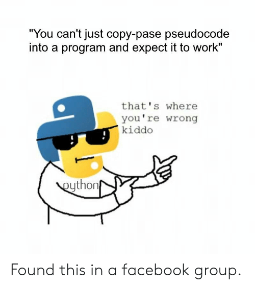 "Facebook, Work, and Group: ""You can't just copy-pase pseudocode  into a program and expect it to work""  that's where  you're wrong  kiddo  eython Found this in a facebook group."