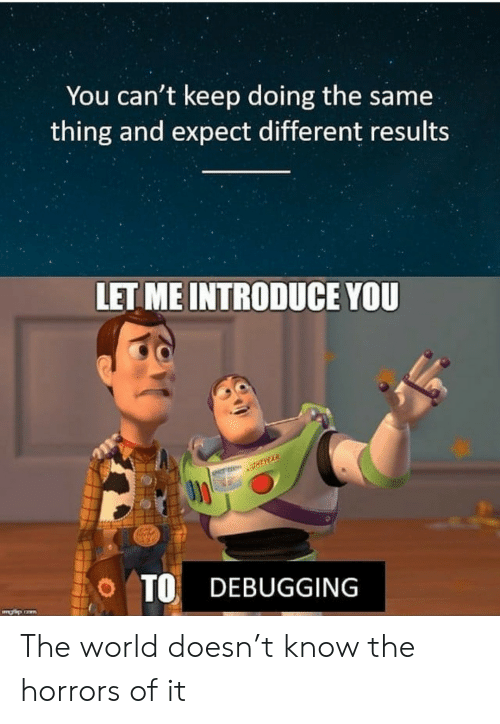 World, The World, and Thing: You can't keep doing the same  thing and expect different results  LET ME INTRODUCE YOU  O TO DEBUGGING The world doesn't know the horrors of it