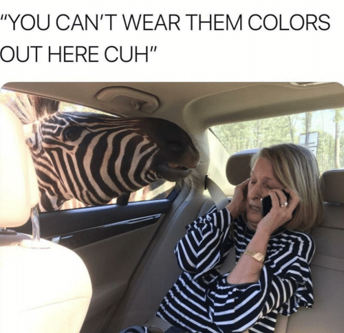 """Them, You, and  Colors: """"YOU CAN'T WEAR THEM COLORS  OUT HERE CUH"""""""