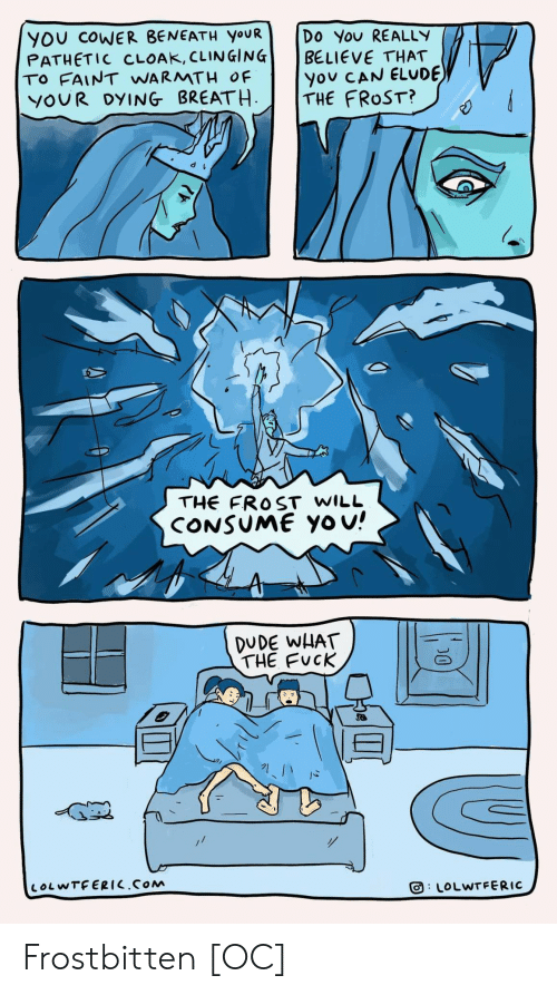 Consume: YOU COWER BENEATH YOUR  PATHETIC CLOAK, CLINGING  TO FAINT WARMTH OF  YOUR DYING BREATH  Do You REALLY  BELIEVE THAT  you CAN ELUDE  THE FROST?  THE FROST WILL  CONSUME Yo u!  DUDE WHAT  THE FUCK  LOLWTFERIC.COM  LOLWTFERIC  D0 Frostbitten [OC]
