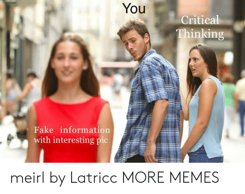 critical: You  Critical  Thinking  Fake information  with interesting pic meirl by Latricc MORE MEMES