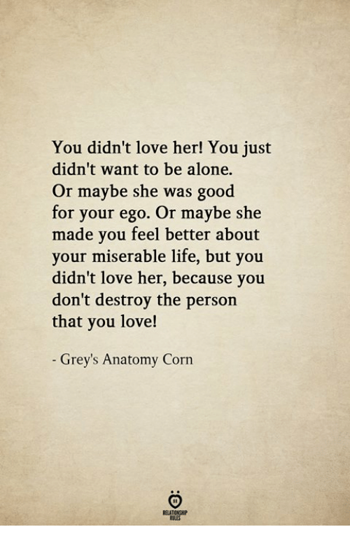 Being Alone, Life, and Love: You didn't love her! You just  didn't want to be alone.  Or maybe she was good  for your ego. Or maybe she  made you feel better about  your miserable life, but you  didn't love her, because you  don't destroy the person  that you love!  - Grey's Anatomy Corn