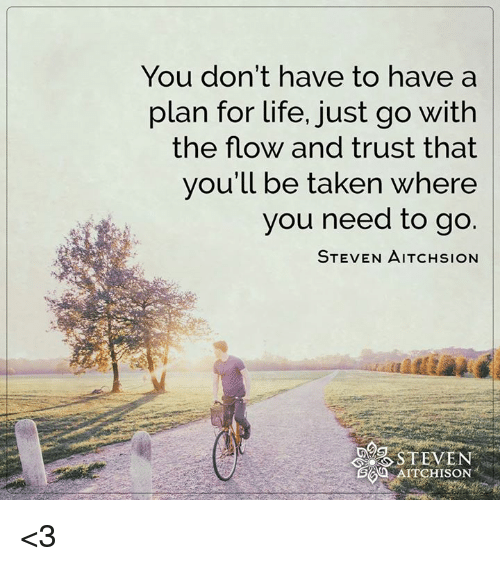 Life, Memes, and Taken: You don't have to have a  plan for life, just go with  the flow and trust that  you'll be taken where  you need to go.  STEVEN AITCHsioN  STEVEN  AITCHISON <3