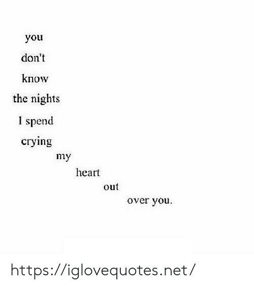 Crying, Heart, and Net: you  don't  know  the nights  I spend  crying  my  heart  out  over you https://iglovequotes.net/
