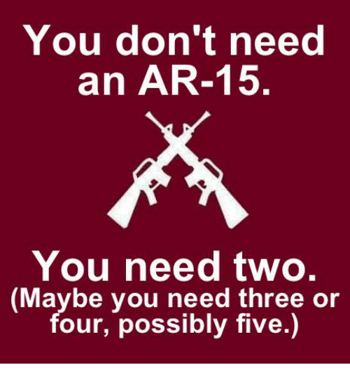 Memes, Ar 15, and 🤖: You don't need  an AR-15  You need two.  (Maybe you need three or  four, possibly five.)