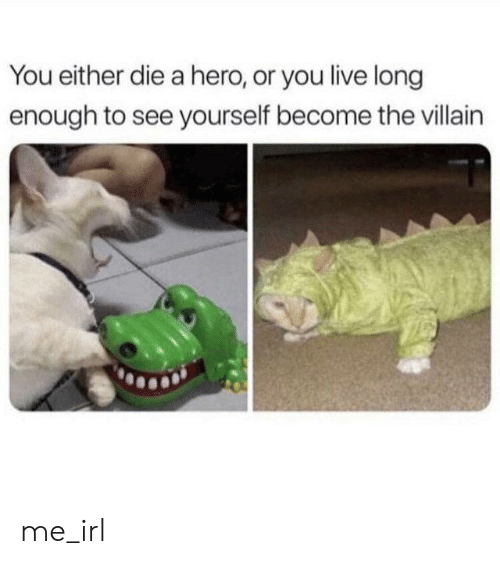 Live, Villain, and Irl: You either die a hero, or you live long  enough to see yourself become the villain me_irl