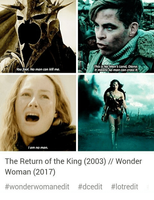 Memes, Cross, and Wonder Woman: You fool. No man can kill me.  This is No Man's Land, Diana.  t means no man can cross it.  I am no mon.  The Return of the King (2003) // Wonder  Woman (2017)