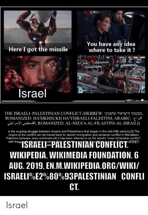 """Struggle, Wikipedia, and Immigration: You have any idea  where to take it?  Here I got the missile  Israel  THE ISRAELI-PALESTINIAN CONFLICT (HEBREW: o noon,  ROMANIZED: HA'SIKHSUKH HA'YISRAELI-FALESTINI; ARABIC: -  iI, ROMANIZED: AL-NIZA'A AL-FILASTINI-AL-ISRAILI)  is the ongoing struggle between Israelis and Palestinians that began in the mid-20th century [3] The  origins to the conflict can be traced back to Jewish immigration and sectarian conflict in Mandatory  Palestine between Jews and Arabs.[4] It has been referred to as the world's """"most intractable conflict"""",  with the  """"ISRAELT PALESTINIAN CONFLICT.""""  6[7  pati  WIKIPEDIA, WIKIMEDIA FOUNDATION, 6  AUG. 2019, EN.M.WIKIPEDIA.ORG/WIKI/  ISRAELI%E2%80%93PALESTINIAN_CONFLI  CT Israel"""