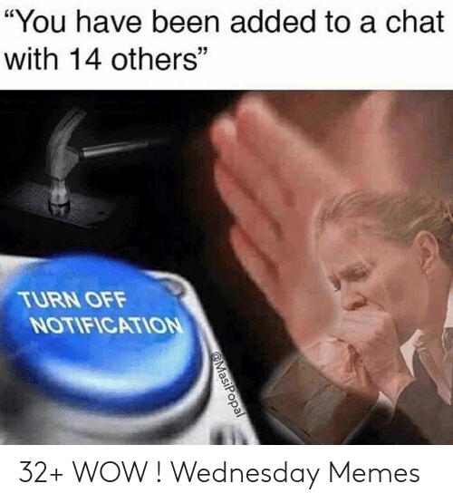 "Memes, Wow, and Chat: ""You have been added to a chat  with 14 others""  TURN OFF  NOTIFICATION 32+ WOW ! Wednesday Memes"