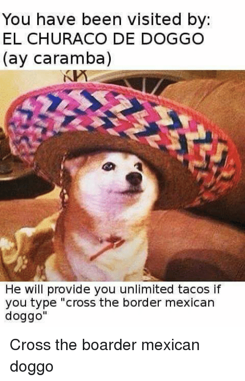 """boarder: You have been visited by  EL CHURACO DE DOGGO  (ay Caramba)  He will provide you unlimited tacos if  you type """"cross the border mexican  doggo"""" Cross the boarder mexican doggo"""