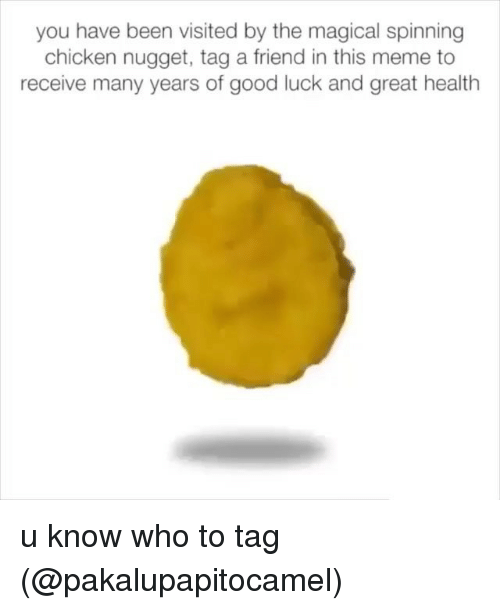 Meme, Memes, and Chicken: you have been visited by the magical spinning  chicken nugget, tag a friend in this meme to  receive many years of good luck and great health u know who to tag (@pakalupapitocamel)