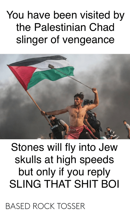 Shit, History, and Been: You have been visited by  the Palestinian Chad  slinger of vengeance  Stones will fly into Jew  skulls at high speeds  but only if you reply  SLING THAT SHIT BOI BASED ROCK TOSSER