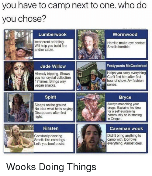 Community, Dancing, and Drugs: you have to camp next to one. who do  you chose?  Lumberwook  Wormwood  Incoherent babbling  Will help you build fire  Hard to make eye contact  Smells horible  and/or cabin  Jade Willow  Festypants McCoolerboi  Already tripping. Shows  you her crystal collection  17 times. Brings only  vegan snacks.  Helps you carry everything  Can't find him after first  hour of show. A+fashion  sense.  Spirit  Bryce  Sleeps on the ground  No idea what he is saying  Disappears after first  night.  Always mooching your  drugs. Explains his idea  for a self-sustaining  community he is starting  in Oregon  Kirsten  Caveman wook  Constantly dancing.  Smells like corndogs.  Let's you boof assist.  Didn't bring anything to  camp with Borrows  everything. Almost dies. Wooks Doing Things