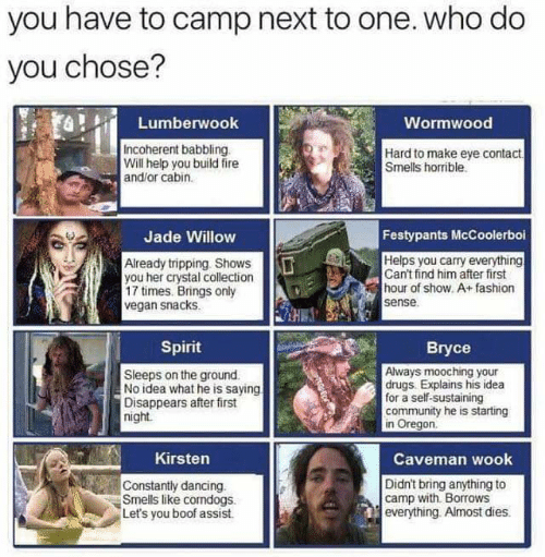Community, Dancing, and Drugs: you have to camp next to one. who do  you chose?  Lumberwook  Wormwood  Incoherent babbling  Will help you build fire  and/or cabin  Hard to make eye contact  Smells horrible  Jade Willow  Festypants McCoolerboi  Already tripping Shows  you her crystal collection  17 times. Brings only  vegan snacks  Helps you carry everything  Can't find him after first  hour of show. A+fashion  sense  Spirit  Sleeps on the ground  No idea what he is saying  Disappears after first  night  Always mooching your  drugs. Explains his idea  for a self-sustaining  community he is starting  in Oregon  nKirsten  Caveman wook  Constantly dancing.  Smells like comdogs.  Let's you boof assist.  Didn't bring anything to  camp with Borrows  everything. Almost dies.
