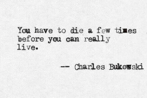 Live, Can, and You: You have to die a few times  before you can really  live.  Charles Bukosski