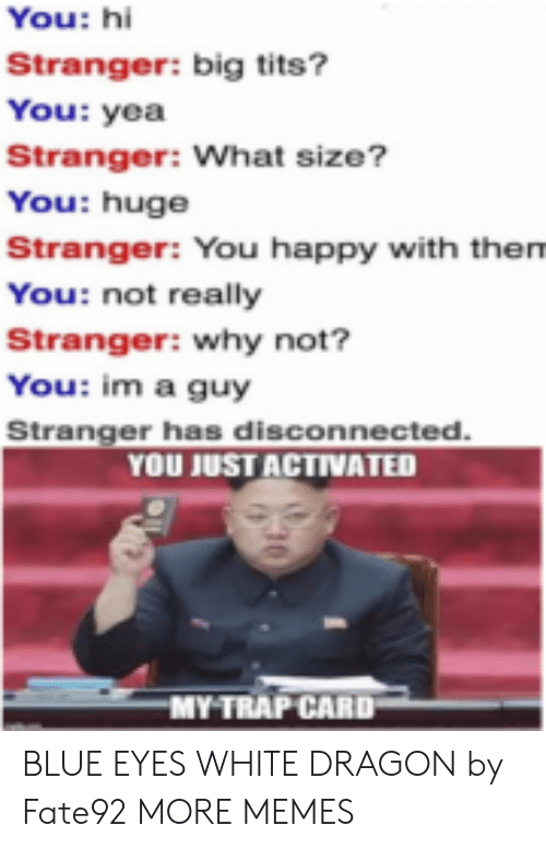 disconnected: You: hi  Stranger: big tits?  You: yea  Stranger: What size?  You: huge  Stranger: You happy with them  You: not really  Stranger: why not?  You: im a guy  Stranger has disconnected.  YOU JUST ACTIVATED  MY TRAP CARD BLUE EYES WHITE DRAGON by Fate92 MORE MEMES