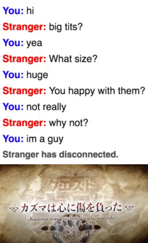 stranger: You: hi  Stranger: big tits?  You: yea  Stranger: What size?  You: huge  Stranger: You happy with them?  You: not really  Stranger: why not?  You: im a guy  Stranger has disconnected.  Quest Falled  令カズマは心に傷を負った  Kazuma was psychologically scarred.