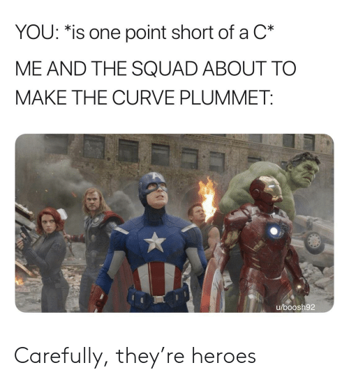 Curving, Reddit, and Squad: YOU: *is one point short of a C*  ME AND THE SQUAD ABOUT TO  MAKE THE CURVE PLUMMET:  u/boosh92 Carefully, they're heroes