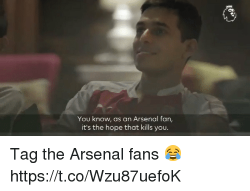 Arsenal, Memes, and Hope: You know, as an Arsenal fan,  it's the hope that kills you. Tag the Arsenal fans 😂 https://t.co/Wzu87uefoK
