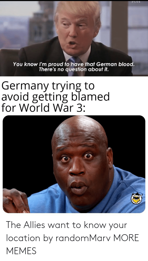 Im Proud: You know I'm proud to have that German blood.  There's no question about it.  Germany trying to  avoid getting blamed  for World War 3: The Allies want to know your location by randomMarv MORE MEMES