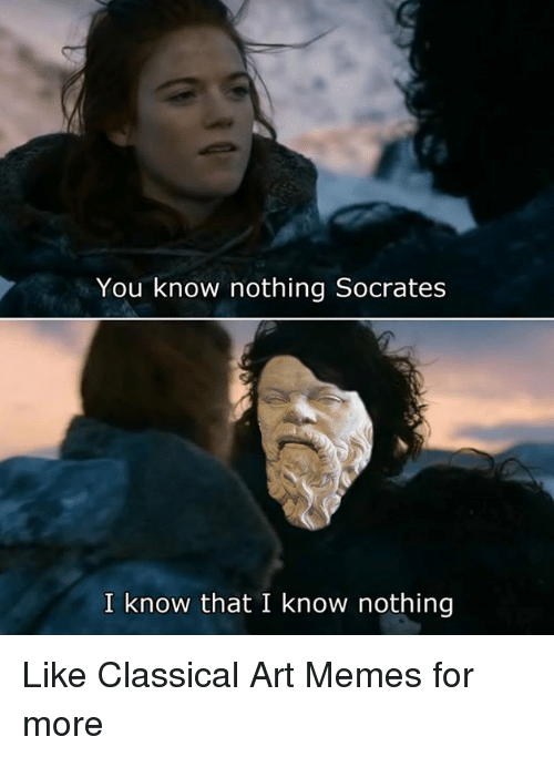 Meme, Memes, and Classical Art: You know nothing Socrates  I know that I know nothing Like Classical Art Memes for more