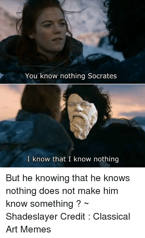 Doe, Meme, and Memes: You know nothing Socrates  I know that I know nothing But he knowing that he knows nothing does not make him know something ? ~ Shadeslayer  Credit : Classical Art Memes