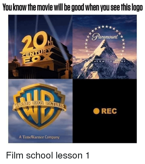 School, Good, and Movie: You know the movie will be good when you see this logo  ● REC  A TimeWarner Company Film school lesson 1